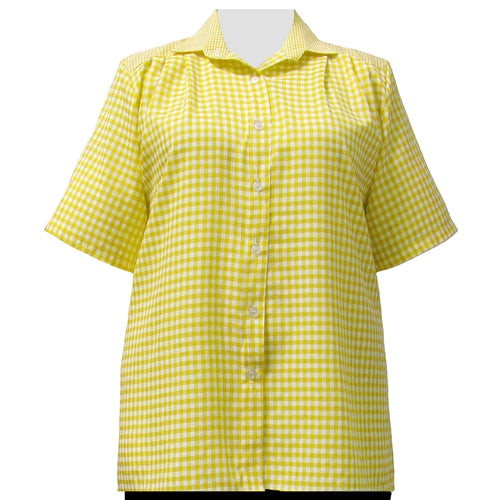 Yellow Gingham Short Sleeve Tunic Women's Plus Size Blouse