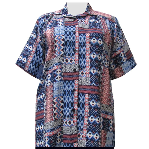 Blue & Red Tribal Short Sleeve Tunic Women's Plus Size Blouse