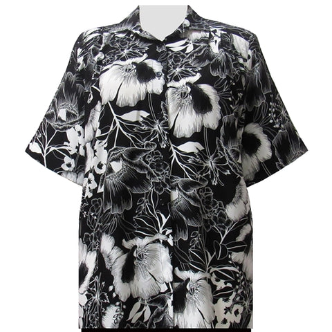 Black & White Blossoms Short Sleeve Tunic Women's Plus Size Blouse
