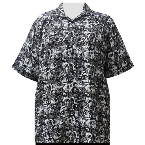 Black & White Floral Garden Short Sleeve Tunic Women's Plus Size Blouse