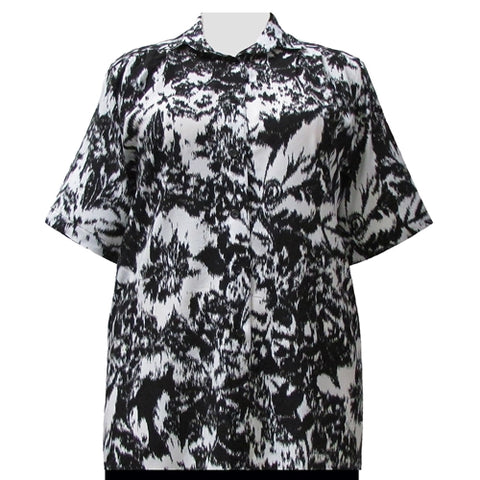 Black & White Static Short Sleeve Tunic Women's Plus Size Blouse