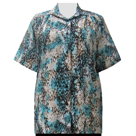Chocolate Leopard Short Sleeve Tunic Women's Plus Size Blouse