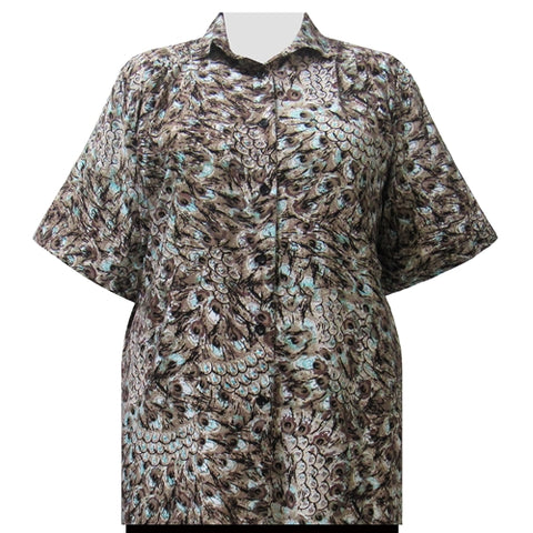Cocoa Feathers Short Sleeve Tunic Women's Plus Size Blouse