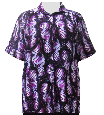 Lavender Geometric Tribal Short Sleeve Tunic Women's Plus Size Blouse