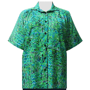 Lime Tribal Designs Short Sleeve Tunic Women's Plus Size Blouse