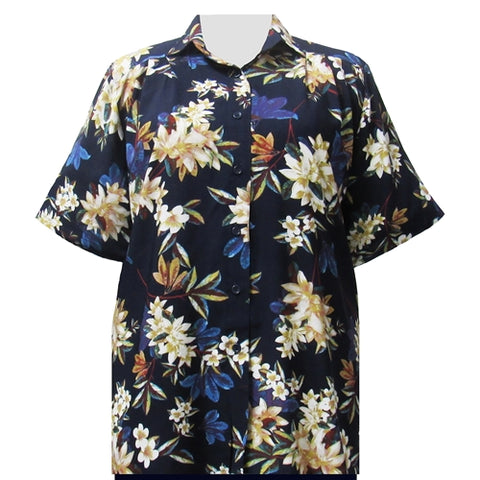 Navy Botanic Short Sleeve Tunic Women's Plus Size Blouse