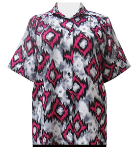 Platinum Fuchsia Abstract Tribal Short Sleeve Tunic Women's Plus Size Blouse