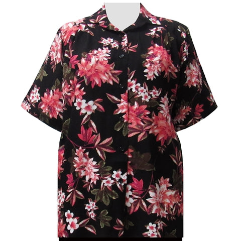 Pink Botanic Short Sleeve Tunic Women's Plus Size Blouse