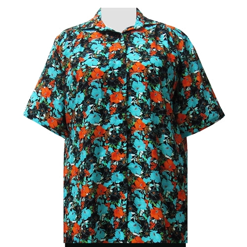 Turquoise Floral Garden Short Sleeve Tunic Women's Plus Size Blouse