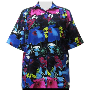 Vibrant Blossoms Short Sleeve Tunic Women's Plus Size Blouse