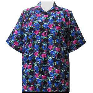 Vibrant Floral Garden Short Sleeve Tunic Women's Plus Size Blouse