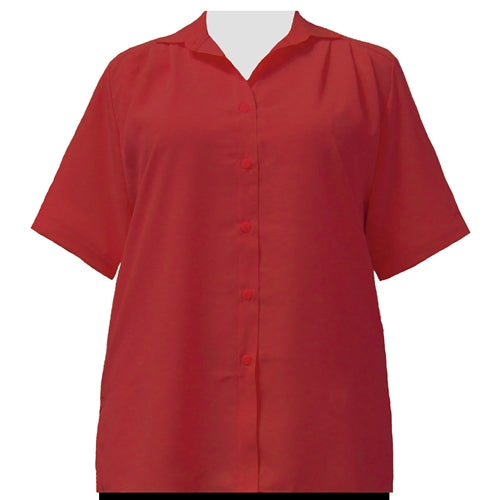 Red short sleeve Tunic (Crushed Peachskin) Women's Plus Size Blouse
