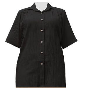 Black Cotton Gauze Short Sleeve Tunic Women's Plus Size Blouse