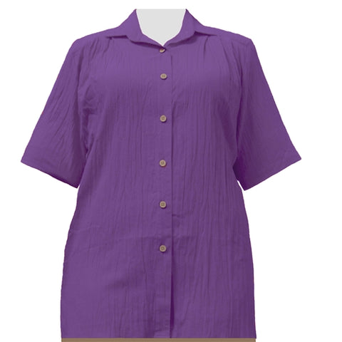Purple Cotton Gauze Short Sleeve Tunic Women's Plus Size Blouse