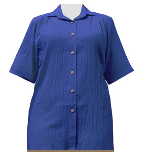 Royal Cotton Gauze Short Sleeve Tunic Women's Plus Size Blouse
