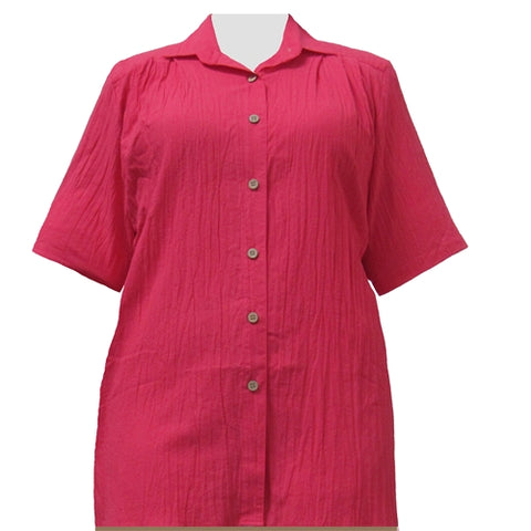 Strawberry Cotton Gauze Short Sleeve Tunic Women's Plus Size Blouse