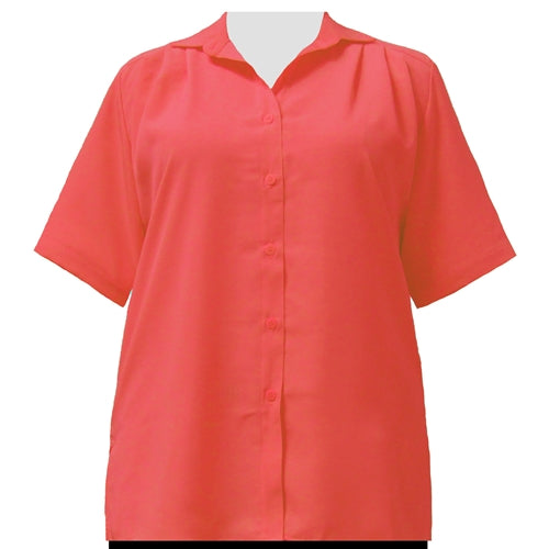 Bright Coral short sleeve Tunic Women's Plus Size Blouse