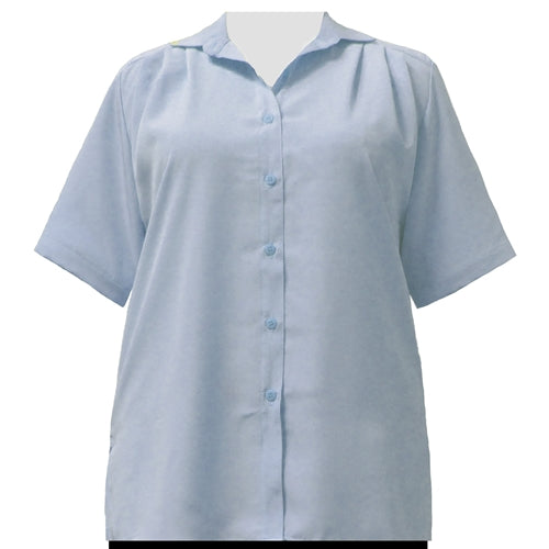 Light Blue short sleeve Tunic Women's Plus Size Blouse