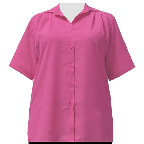 Pink short sleeve Tunic Women's Plus Size Blouse