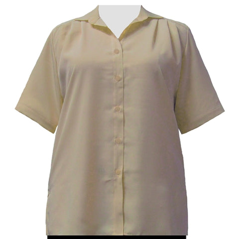 Taupe short sleeve Tunic Women's Plus Size Blouse