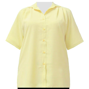 Yellow short sleeve Tunic Women's Plus Size Blouse