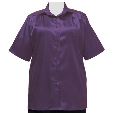 Aubergine Crepe Back Satin Short Sleeve Tunic Women's Plus Size Blouse