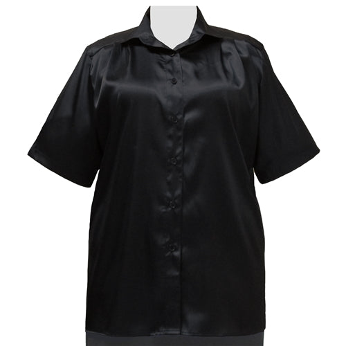Black Crepe Back Satin Short Sleeve Tunic Women's Plus Size Blouse