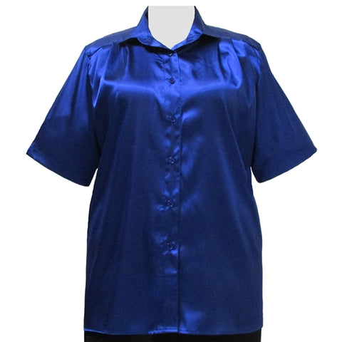 Cobalt Crepe Back Satin Short Sleeve Tunic Women's Plus Size Blouse