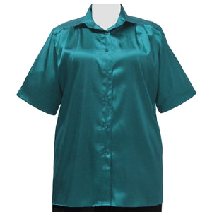 Teal Crepe Back Satin Short Sleeve Tunic Women's Plus Size Blouse