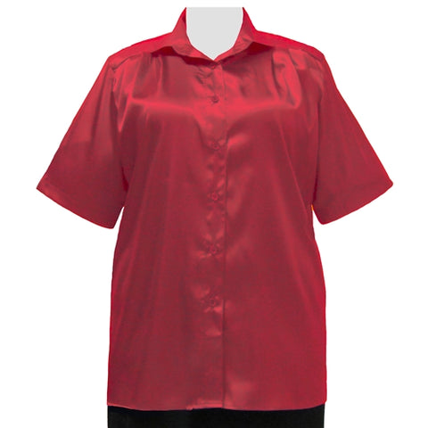 Red Crepe Back Satin Short Sleeve Tunic Women's Plus Size Blouse