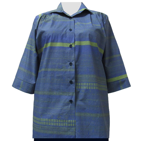 Blue & Green Graph 3/4 Sleeve Tunic Women's Plus Size Blouse