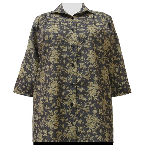 Golden Garden 3/4 Sleeve Tunic Women's Plus Size Blouse