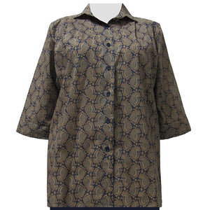 Slate Paisley 3/4 Sleeve Tunic Women's Plus Size Blouse