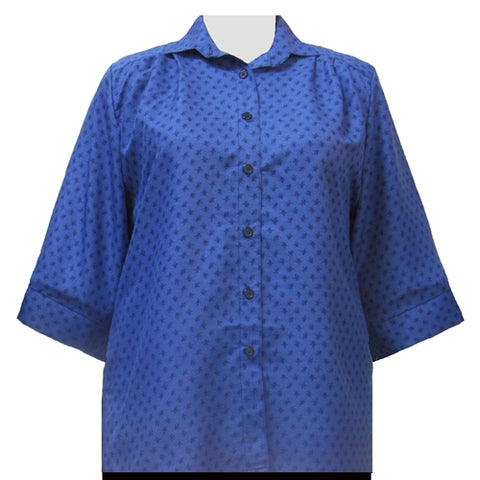 Blue Floating Leaves 3/4 Sleeve Tunic Women's Plus Size Blouse