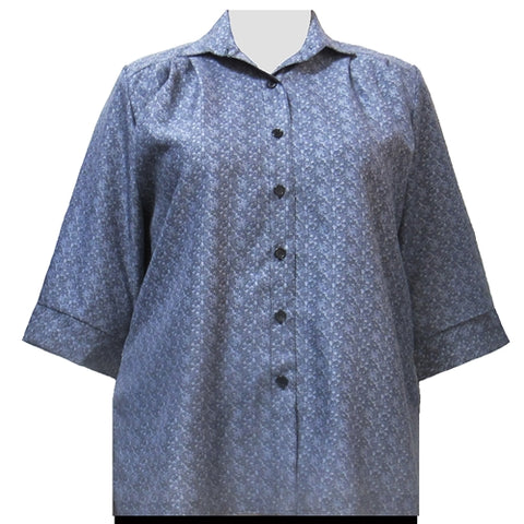 Grey Cora 3/4 Sleeve Tunic Women's Plus Size Blouse