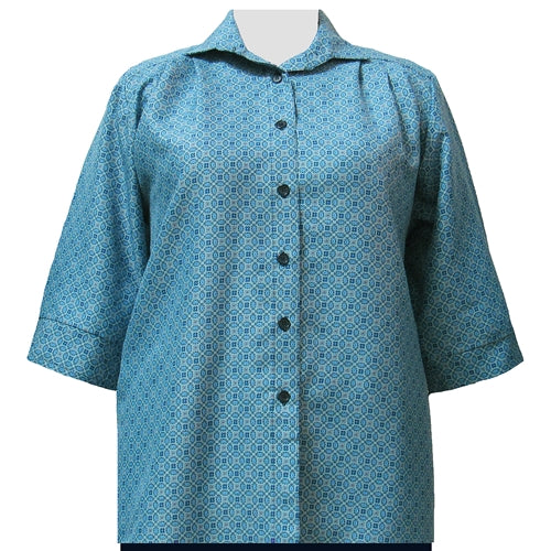 Greyson Teal 3/4 Sleeve Tunic Women's Plus Size Blouse