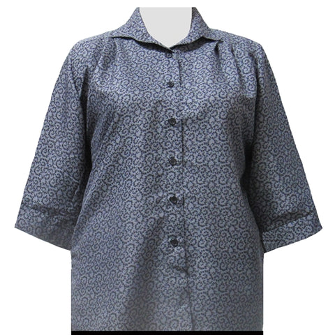 Grey Wreath 3/4 Sleeve Tunic Women's Plus Size Blouse