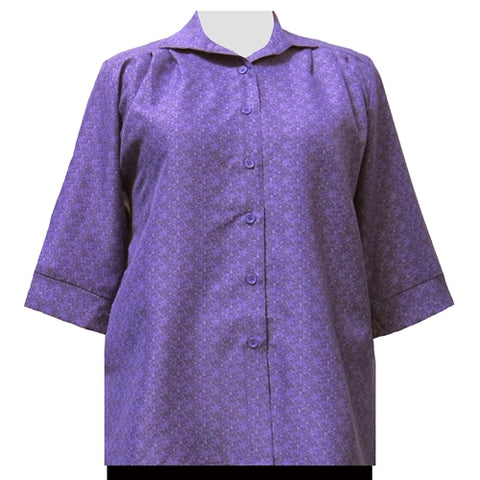 Purple Cora 3/4 Sleeve Tunic Women's Plus Size Blouse