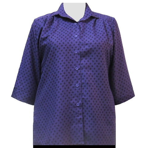 Purple Floating Leaves 3/4 Sleeve Tunic Women's Plus Size Blouse