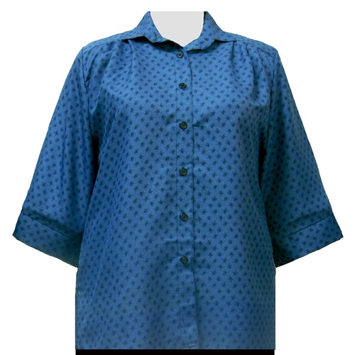 Teal Floating Leaves 3/4 Sleeve Tunic Women's Plus Size Blouse