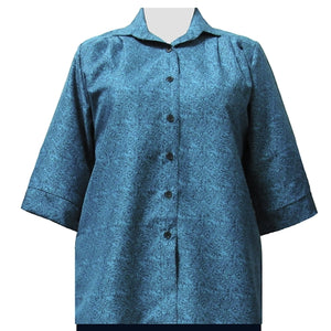 Teal Morrison 3/4 Sleeve Tunic Women's Plus Size Blouse