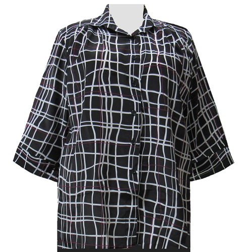 Black Windowpane 3/4 Sleeve Tunic Women's Plus Size Blouse