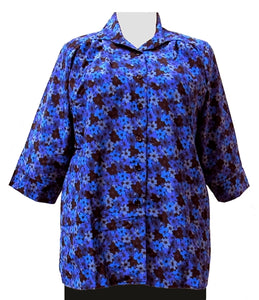 Blue Flori 3/4 Sleeve Tunic Women's Plus Size Blouse