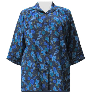 Blue Happy Days 3/4 Sleeve Tunic Women's Plus Size Blouse