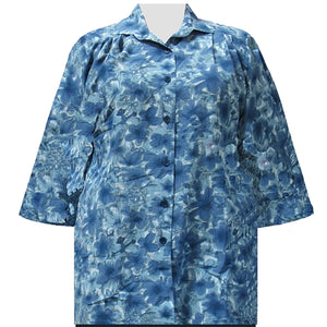 Blue Maura 3/4 Sleeve Tunic Women's Plus Size Blouse