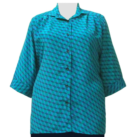 Green Geometric 3/4 Sleeve Tunic Women's Plus Size Blouse