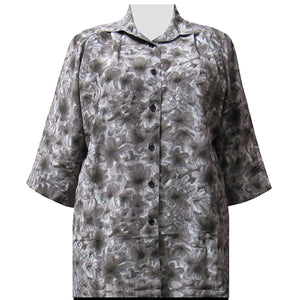 Grey Maura 3/4 Sleeve Tunic Women's Plus Size Blouse