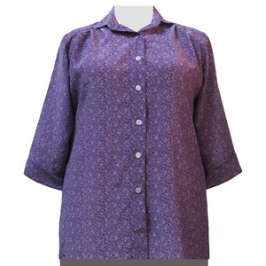 Lilac Trellis 3/4 Sleeve Tunic Women's Plus Size Blouse