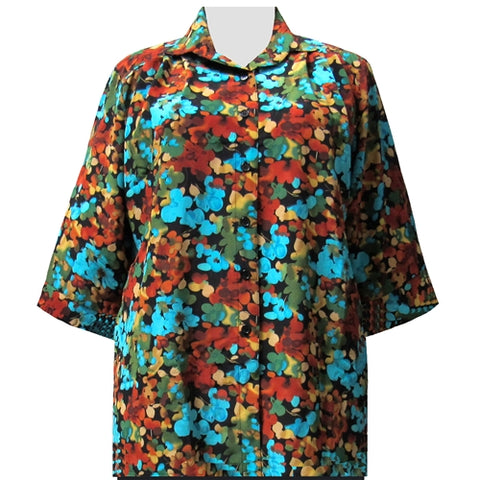 Multi Marigolds 3/4 Sleeve Tunic Women's Plus Size Blouse
