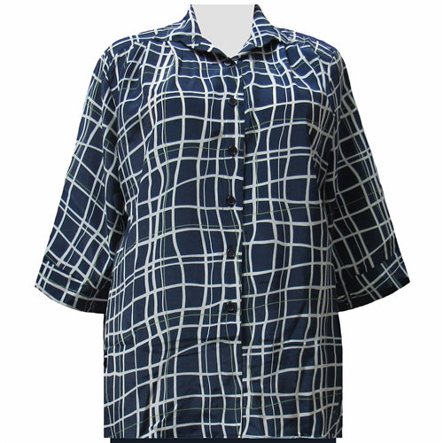 Navy Windowpane 3/4 Sleeve Tunic Women's Plus Size Blouse